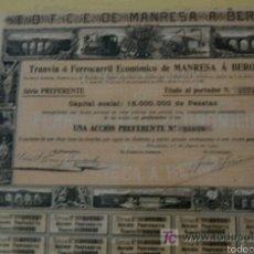 Coleccionismo Acciones Españolas: ACCIÓN FERROCARRIL MANRESA A BERGA. BARCELONA. 1902. CUPONES. Lote 54859197