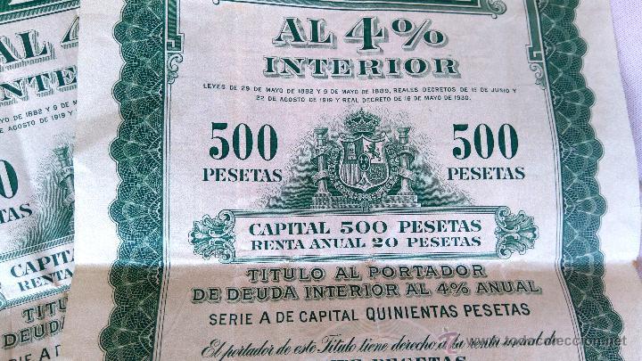 Coleccionismo Acciones Españolas: COLECCION 4 ACCIONES,DEUDA ESPAÑA AÑO 1930,REY ALFONSO XIII EN UNIFORME MILITAR,TITULO AL PORTADOR - Foto 3 - 54996096