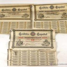 Coleccionismo Acciones Españolas: ACCIONES CREDITO ESPAÑOL. 2 SÉRIES A Y B(VER DESCRIP). S. A. ESPAÑA. 1883.. Lote 55020201