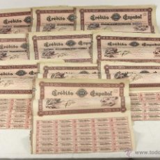 Coleccionismo Acciones Españolas: 10 ACCIONES CRÉDITO ESPAÑOL. SÉRIE C.(VER DESCRIP). S. A. ESPAÑA. 1883. . Lote 55020921