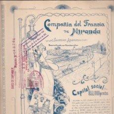 Coleccionismo Acciones Españolas: ACCION COMPAÑIA DEL TRANVIA DE MIRANDA 1912. Lote 56337468