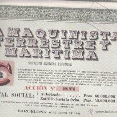Coleccionismo Acciones Españolas: ACCION LA MAQUINISTA TERRESTRE Y MARITIMA 1946. Lote 55048991