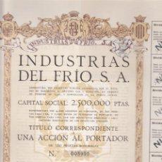 Coleccionismo Acciones Españolas: ACCION INDUSTRIAS DEL FRIO S.A. 1922. Lote 55049072