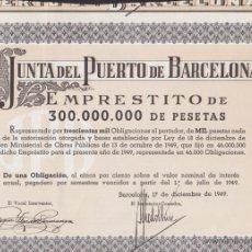 Coleccionismo Acciones Españolas: ACCION JUNTA DEL PUERTO DE BARCELONA 1949. Lote 55065397