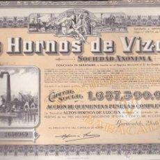 Coleccionismo Acciones Españolas: ACCION ALTOS HORNOS DE VIZCAYA 1957 CON CUPONES . Lote 55065853