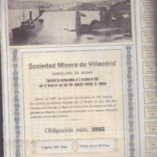 Coleccionismo Acciones Españolas: ACCION SOCIEDAD MINERA VILLAODRID BILBAO 1921 CON CUPONES . Lote 55065866