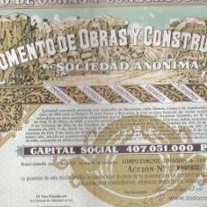 Coleccionismo Acciones Españolas: ACCION FOMENTO DE OBRAS Y CONSTRUCCIONES BARCELONA 1972 . Lote 55065900