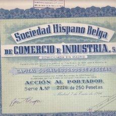 Coleccionismo Acciones Españolas: ACCION SOCIEDAD HISPANO BELGA DE COMERCIO E INDUSTRIA S.A. CON CUPONES MADRID 1946. Lote 55065951