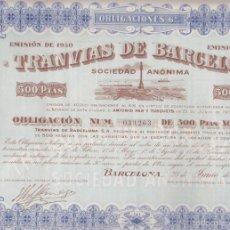 Coleccionismo Acciones Españolas: ACCION TRANVIAS DE BARCELONA CON CUPONES AÑO 1930. Lote 55237570