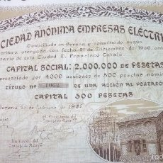 Coleccionismo Acciones Españolas: SOCIEDAD ANONIMA DE EMPRESAS ELECTRICAS. LOTE DE 6 ACCIONES ORIGINALES 1905. Lote 55367048