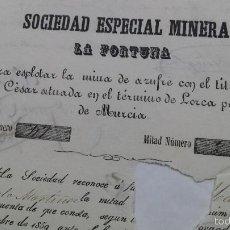 Coleccionismo Acciones Españolas: SOCIEDAD MINERA LA FORTUNA MINA AZUFRE JULIO CESAR LORCA MURCIA 1860. Lote 55571492