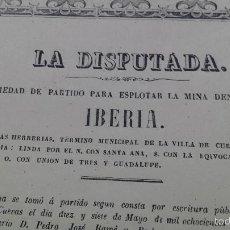 Coleccionismo Acciones Españolas: SOCIEDAD MINERA LA DISPUTADA MINA IBERIA HERRERIAS CUEVAS DE ALMANZORA ALMERIA 1874. Lote 55571672
