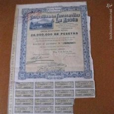 Coleccionismo Acciones Españolas: ACCION COMPAÑIA DE LOS FERROCARRILES DE LA ROBLA DEL AÑO 1928 . Lote 55686249