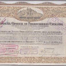 Coleccionismo Acciones Españolas: ACCION COMPAÑIA GENERAL DE FERROCARRILES CATALANES BARCELONA MAYO 1924. Lote 56339283