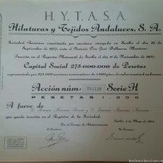 Coleccionismo Acciones Españolas: ACCIONES DE HILATURAS Y TEJIDOS ANDALUCES. S.A.. Lote 56549117