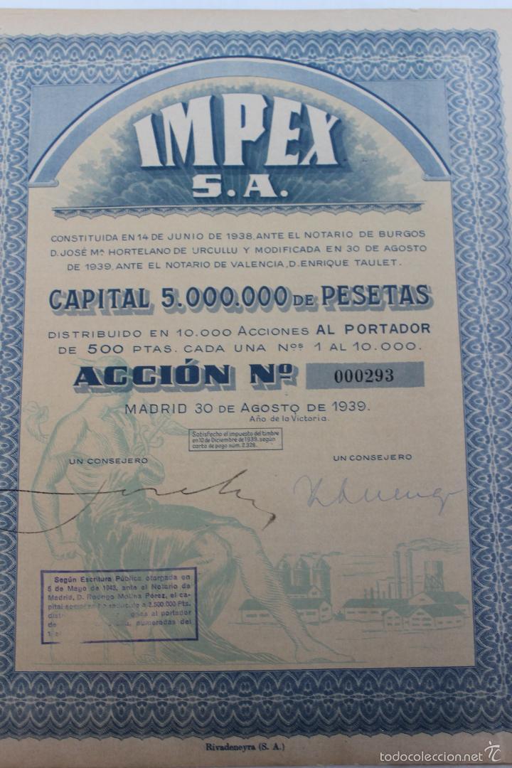 ACCION IMPEX S.A. MADRID 1939 (Coleccionismo - Acciones Españolas)