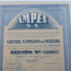 Coleccionismo Acciones Españolas: ACCION IMPEX S.A. MADRID 1939. Lote 56928827