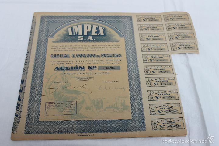 Coleccionismo Acciones Españolas: ACCION IMPEX S.A. MADRID 1939 - Foto 2 - 56928827