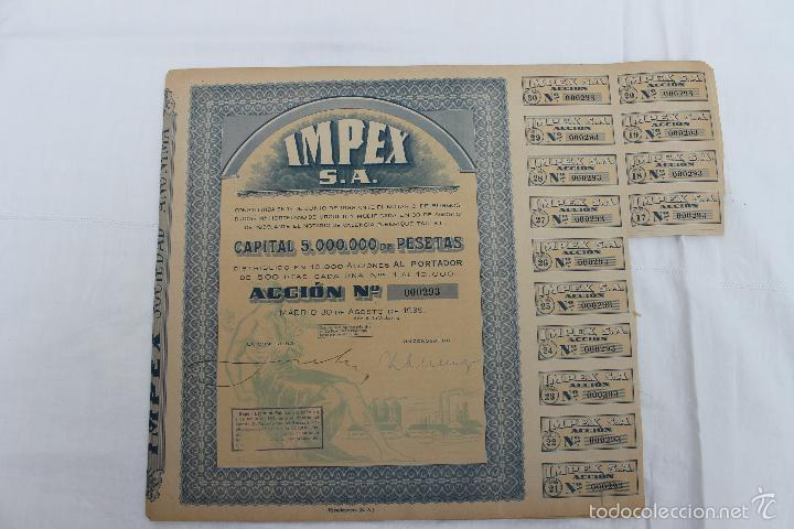 Coleccionismo Acciones Españolas: ACCION IMPEX S.A. MADRID 1939 - Foto 5 - 56928827