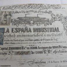Coleccionismo Acciones Españolas: ACCION LA ESPAÑA INDUSTRIAL DE 2000 REALES DE VELLON, 1854, BARCELONA. Lote 56934196