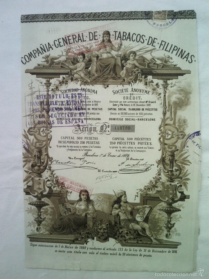 ACCION COMPAÑIA GENERAL DE TABACOS DE FILIPINAS ENERO 1882 39X27 CMS (Coleccionismo - Acciones Españolas)