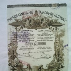 Coleccionismo Acciones Españolas: ACCION COMPAÑIA GENERAL DE TABACOS DE FILIPINAS ENERO 1882 39X27 CMS. Lote 56987020