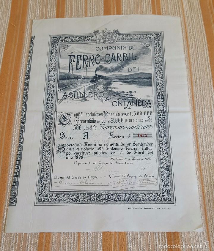 ACCIÓN FERROCARRIL ASTILLERO A ONTANEDA. CANTABRIA 1900 (Coleccionismo - Acciones Españolas)