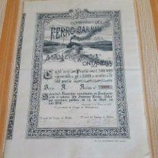 Coleccionismo Acciones Españolas: ACCIÓN FERROCARRIL ASTILLERO A ONTANEDA. CANTABRIA 1900. Lote 188733051