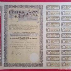 Coleccionismo Acciones Españolas: ACCIÓN CRIADO & LORENZO, S.A - ZARAGOZA , AÑO 1967 - MEDIDAS 33 X 38 CM...R-2698. Lote 57137476