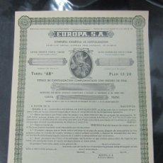 Coleccionismo Acciones Españolas: ACCION. COMPAÑIA ESPAÑOLA DE CAPITALIZACION. EUROPA S.A. MADRID 1950. Lote 57336568
