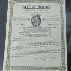 Coleccionismo Acciones Españolas: ACCION. COMPAÑIA ESPAÑOLA DE CAPITALIZACION. EUROPA S.A. MADRID 1950. Lote 57336569