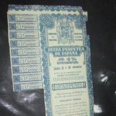 Coleccionismo Acciones Españolas: ACCION. MINISTERIO DE HACIENDA. DEUDA PERPETUA DE ESPAÑA. MADRID 1949. Lote 57336614