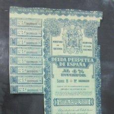 Coleccionismo Acciones Españolas: ACCION. MINISTERIO DE HACIENDA. DEUDA PERPETUA DE ESPAÑA. MADRID 1949. Lote 57336618