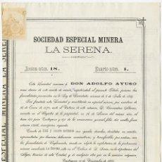 Coleccionismo Acciones Españolas: ACCIÓN SOCIEDAD ESPECIAL MINERA 'LA SERENA' CARTAGENA, 1883. VER FOTOS. Lote 57368280