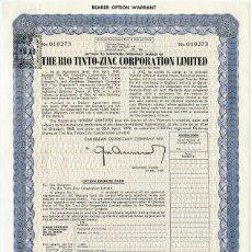 Coleccionismo Acciones Españolas: ACCIÓN THE RIOTINTO-ZINC CORPORATION LIMITED. 1979. Lote 57369204