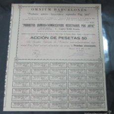 Coleccionismo Acciones Españolas: ACCION. OMNIUM BARCELONES. ANTES PUIG JOFRE. BARCELONA 1910. Lote 57380814