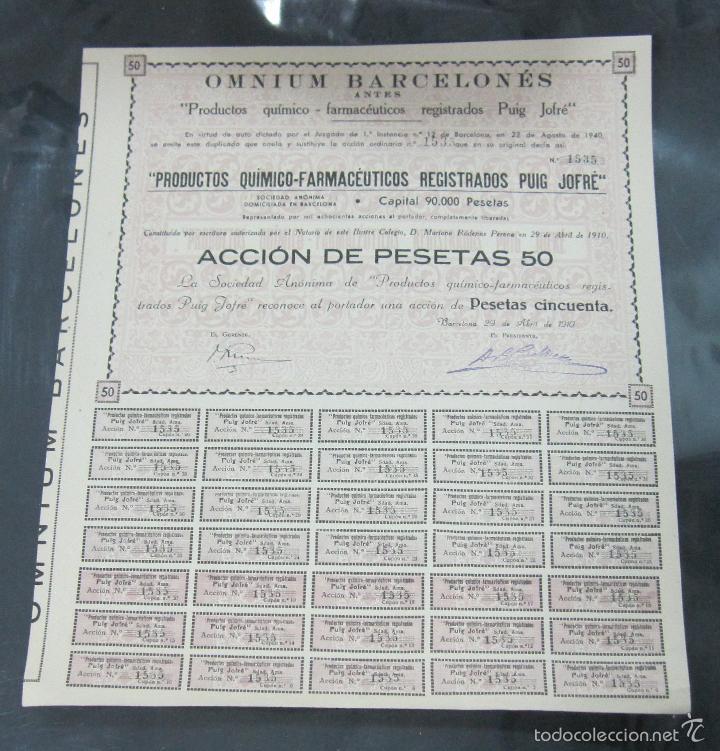 ACCION. OMNIUM BARCELONES. ANTES PUIG JOFRE. BARCELONA 1910 (Coleccionismo - Acciones Españolas)