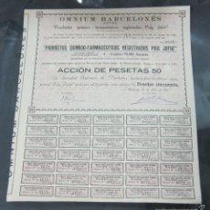 Coleccionismo Acciones Españolas: ACCION. OMNIUM BARCELONES. ANTES PUIG JOFRE. BARCELONA 1910. Lote 111723548