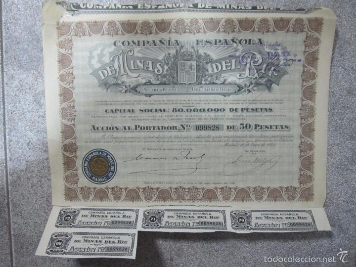 ACCION. COMPAÑIA ESPAÑOLA DE MINAS DEL RIF. S.A. AÑO 1928 (Coleccionismo - Acciones Españolas)