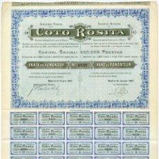 Coleccionismo Acciones Españolas: SOCIEDAD MINERA COTO ROSITA, S.A. PARTE FUNDADOR. MADRID, 1907 (TENÍA LAS MINAS EN LINARES, JAÉN). Lote 57493170