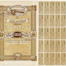 Coleccionismo Acciones Españolas: SOCIEDAD MINERA DE VILLAODRID. BILBAO, 1918. ACCIÓN DE 500 PTAS. CON LA MAYORÍA DE LOS CUPONES. Lote 57493999