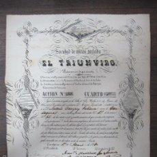 Coleccionismo Acciones Españolas: ACCION. SOCIEDAD DE MINAS TITULADA EL TRIUNVIRO. CARTAGENA. AÑO 1857.. Lote 57505443