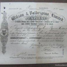 Coleccionismo Acciones Españolas: ACCION. WILSON & VALDESPINO, LIMITED. AÑO 1900.. Lote 57506407