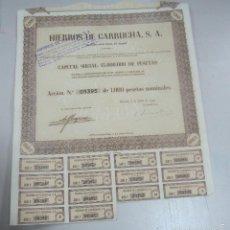 Coleccionismo Acciones Españolas: ACCION. HIERROS DE GARRUCHA. MADRID. 1953. Lote 180338262