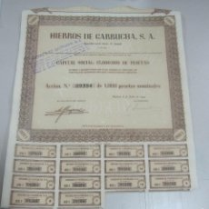 Coleccionismo Acciones Españolas: ACCION. HIERROS DE GARRUCHA. MADRID. 1953. Lote 57642612