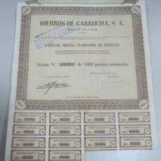 Coleccionismo Acciones Españolas: ACCION. HIERROS DE GARRUCHA. MADRID. 1953. Lote 57642624