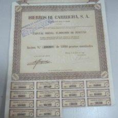 Coleccionismo Acciones Españolas: ACCION. HIERROS DE GARRUCHA. MADRID. 1953. Lote 57642630