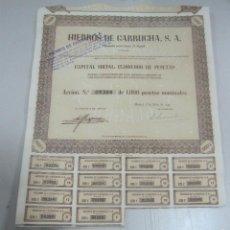 Coleccionismo Acciones Españolas: ACCION. HIERROS DE GARRUCHA. MADRID. 1953. Lote 57642651