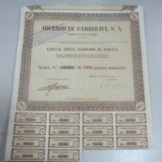 Coleccionismo Acciones Españolas: ACCION. HIERROS DE GARRUCHA. MADRID. 1953. Lote 57642683