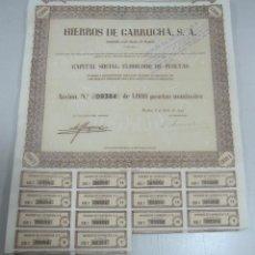 Coleccionismo Acciones Españolas: ACCION. HIERROS DE GARRUCHA. MADRID. 1953. Lote 57642698